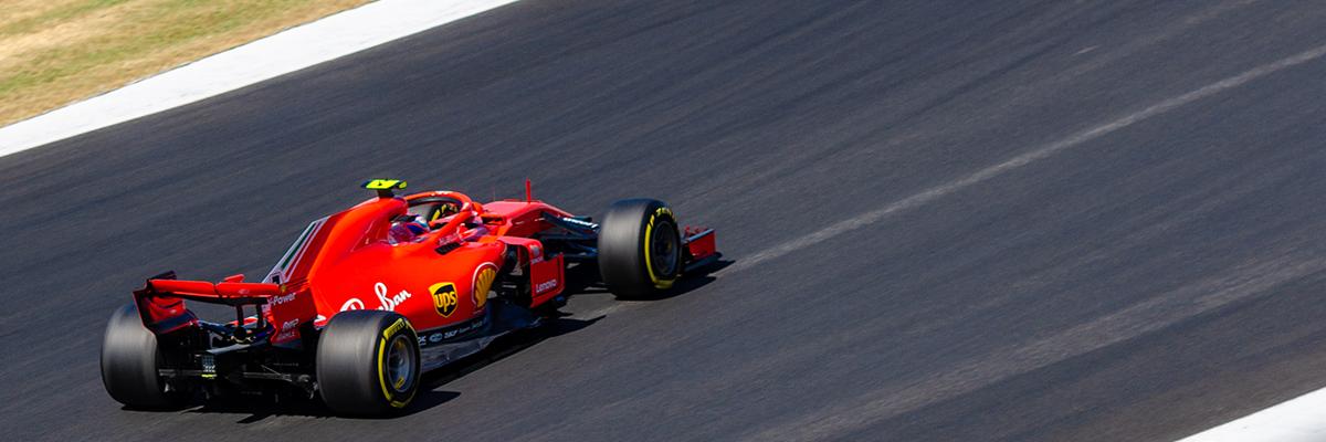 Ferrari heading into Brooklands corner