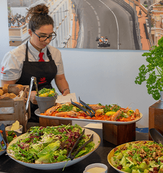 Silverstone Brooklands hospitality guests experience a luxury buffet-style lunch.