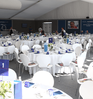 Silverstone Six marquee interior before guests arrival